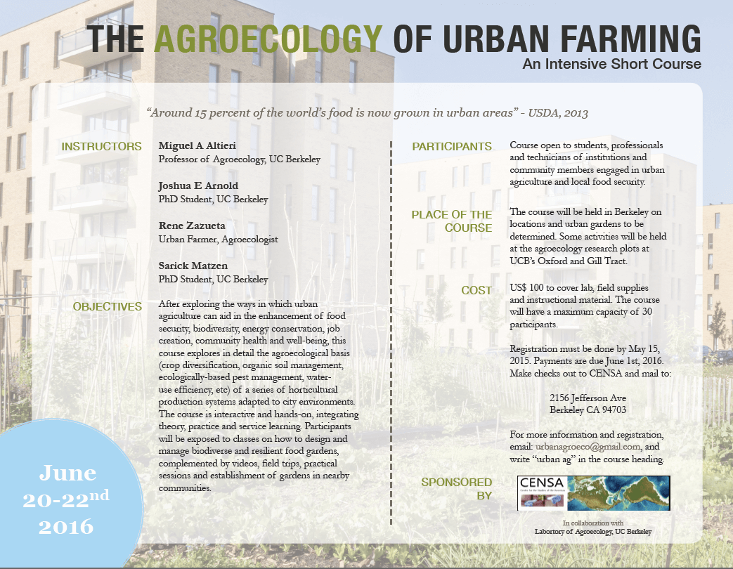 UrbanAgroecology Course 2016